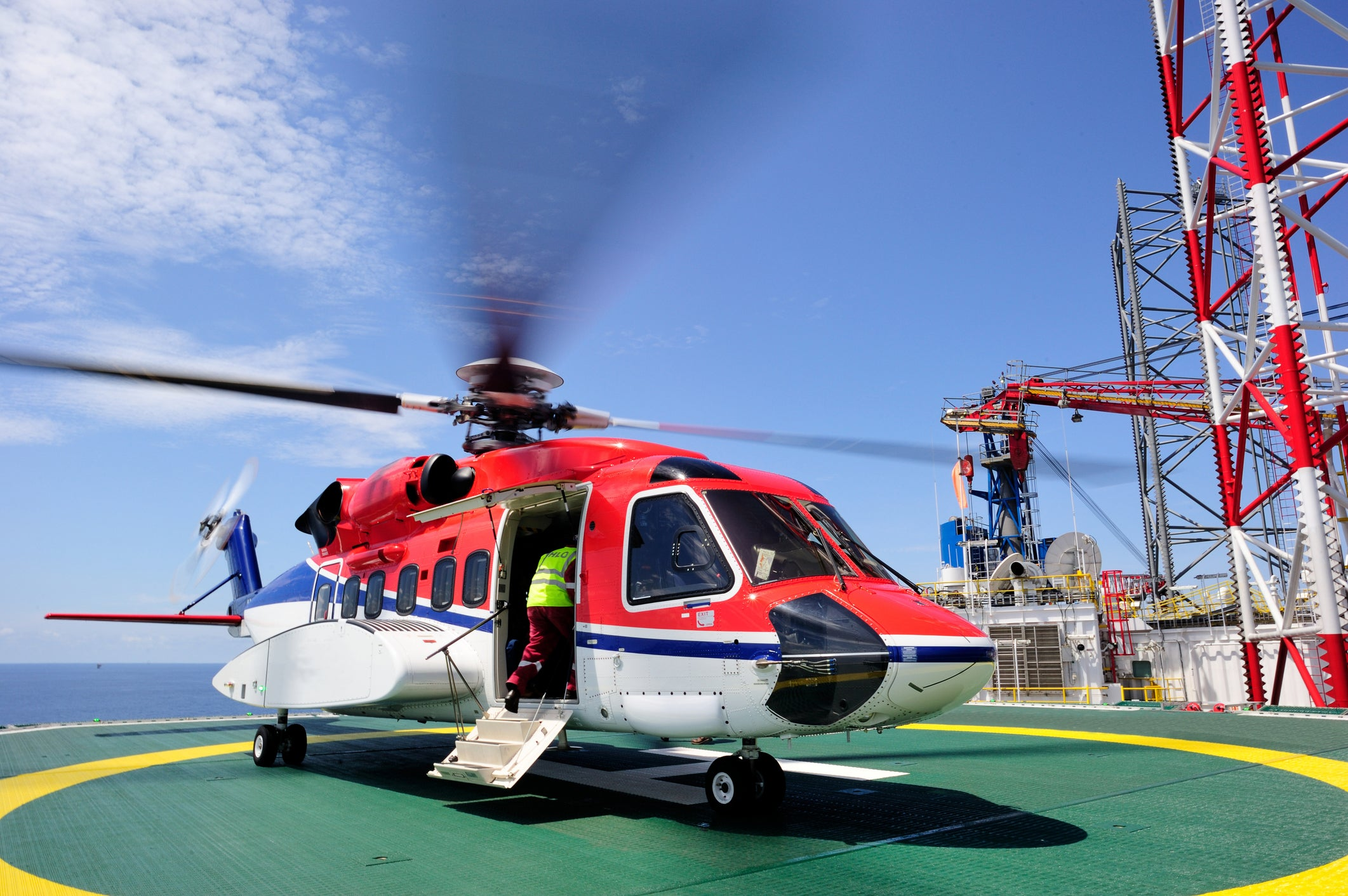 Helicopter on offshore platform.