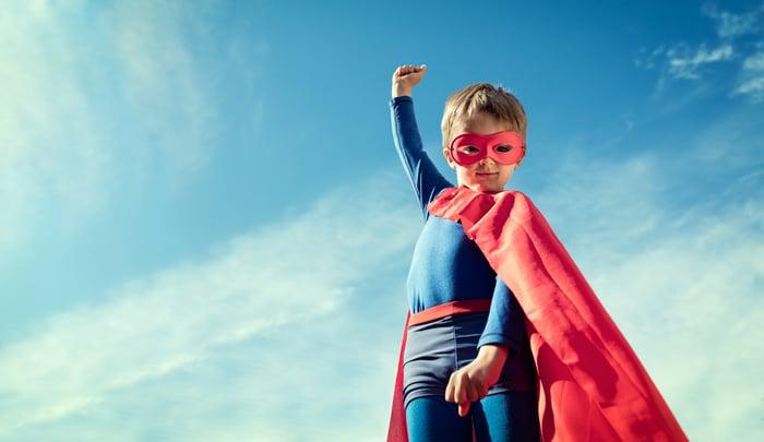 Child in superhero costume.