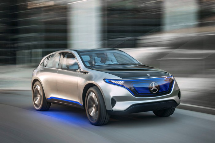 A concept version of an upcoming electric Mercedes-Benz compact SUV.