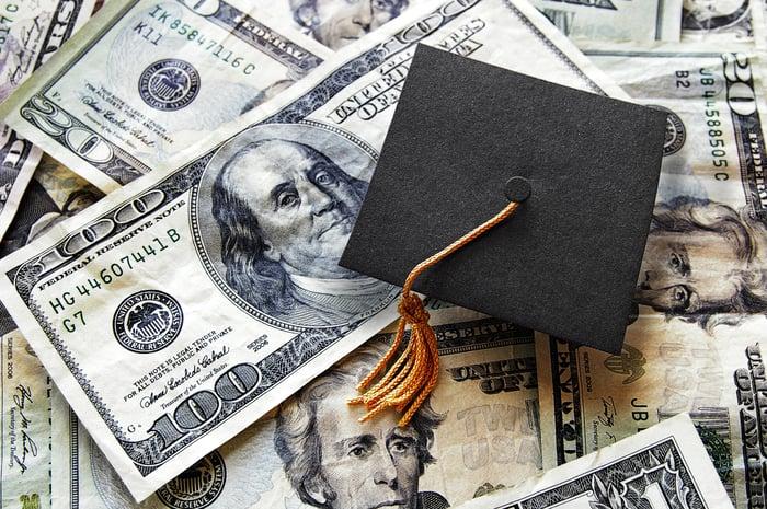 Graduation cap atop a pile of mony