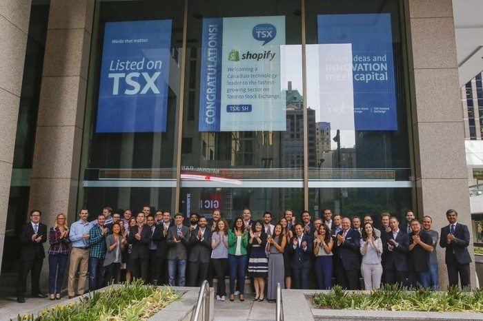 Shopify employees outside Toronto Stock Exchange on IPO day.