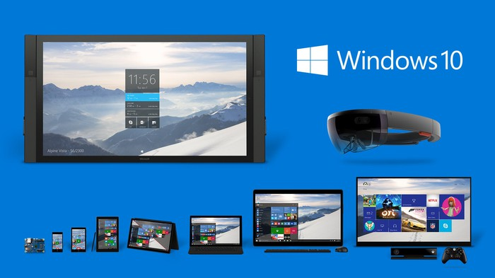 Windows 10 running on various devices.