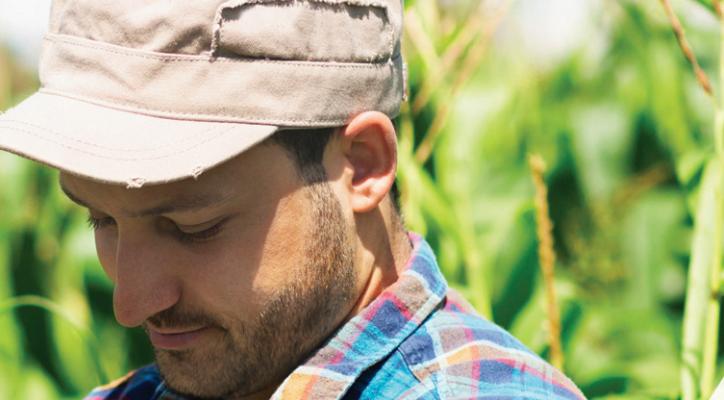A farmer in a field.