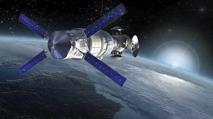 Satellite circling the globe.