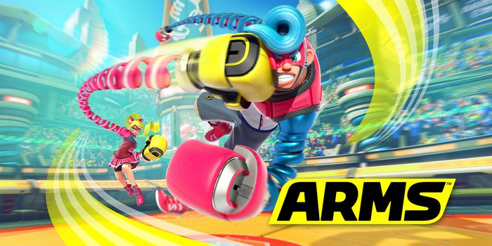 Box art of Nintendo's ARMS video game depicting one character delivering a hard punch in a cartoonish way to an opponent.