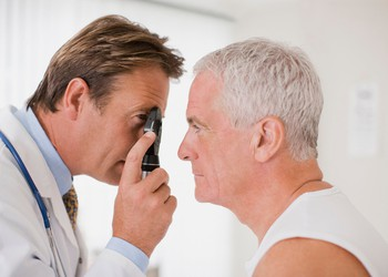 Doctor and patient eye exam