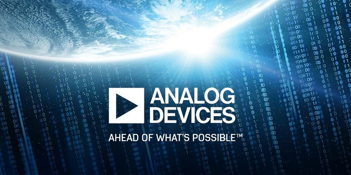 """Image of Analog Devices' logo and the words """"ahead of what's possible."""""""