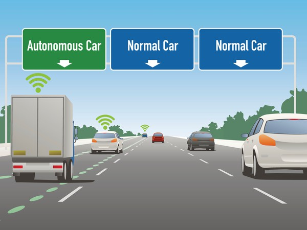 Driverless Cars Animated Three Lanes on Highway