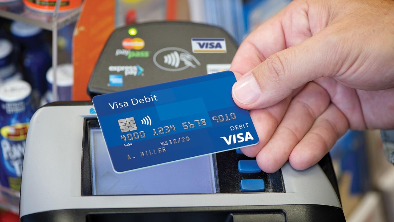 A Visa debit card.