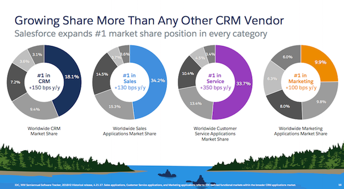 """Graph titled """"Growing Share More Than Any Other CRM Vendor"""""""