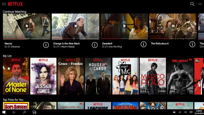 Netflix list of shows.