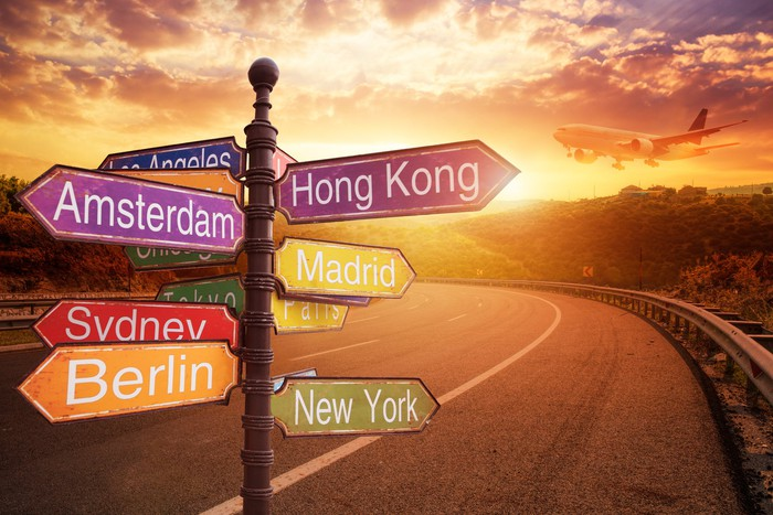 Signboard showing names of different countries