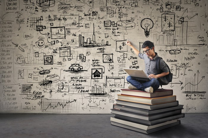 A man, using a laptop, sits cross-legged on a pile of oversized books, as he points to a cluster of dollar signs on the wall behind him.