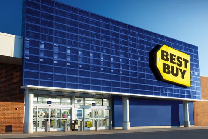 A new Best Buy store with blue store front and yellow tag logo.