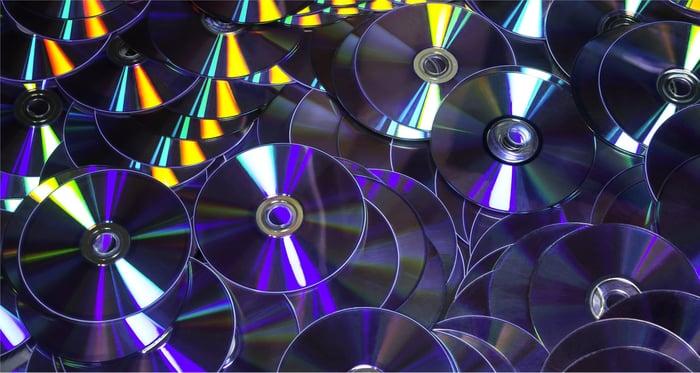 A pile of optical discs.