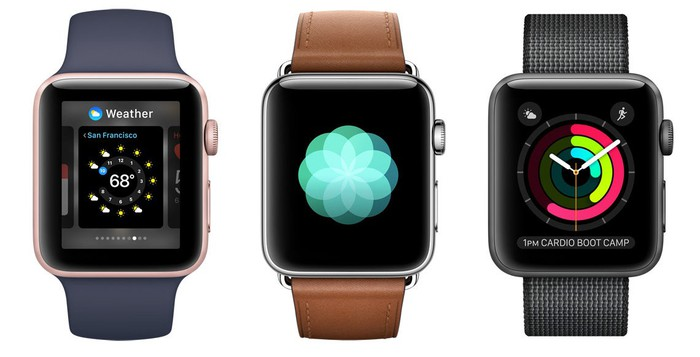 Three Apple Watches next to each other.