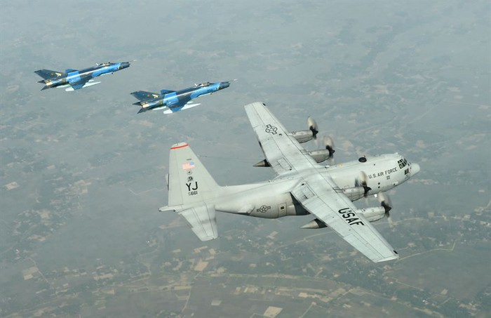 F-7BG Defenders in flight