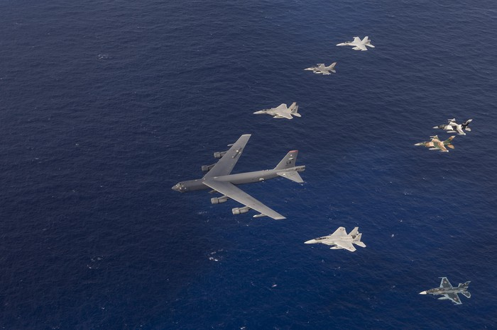 Multinational aircraft flying in formation