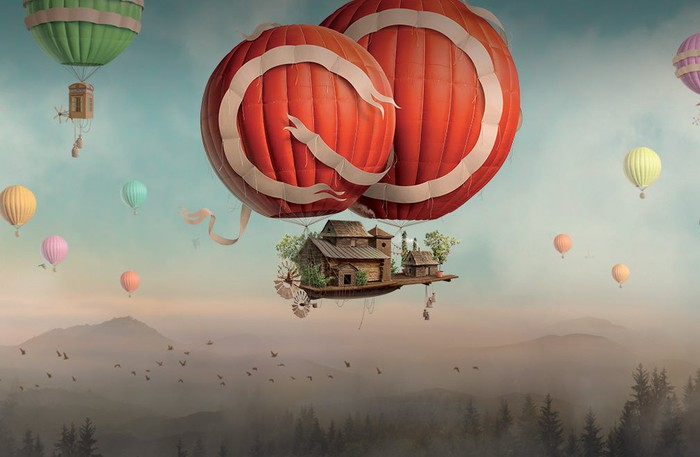 Adobe's Creative Cloud graphic showing hot air balloons carrying a house.