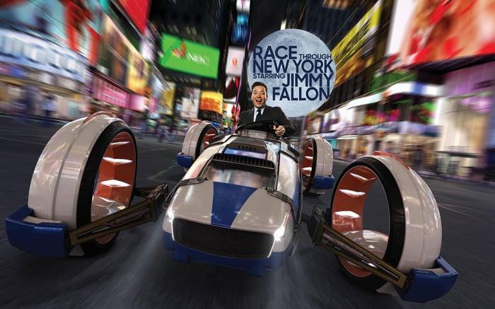 Promo art for Jimmy Fallon's new ride at Universal Studios Florida.
