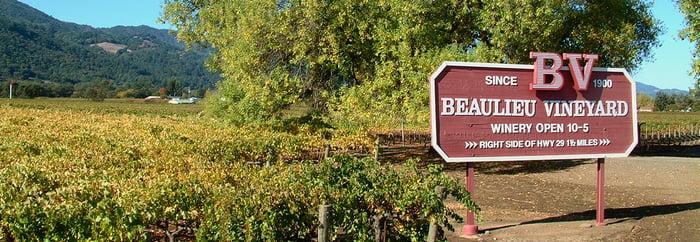 A sign outside Beaulieu Vineyard.