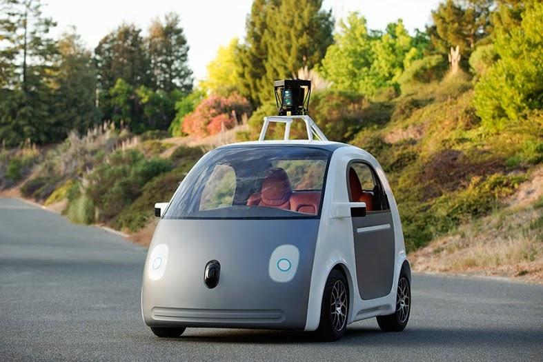 "A Google ""panda"" self-driving test vehicle."