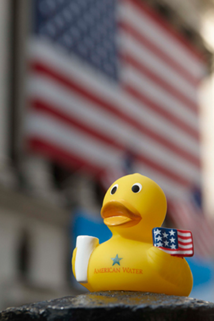 A rubber duck holds an American flag.