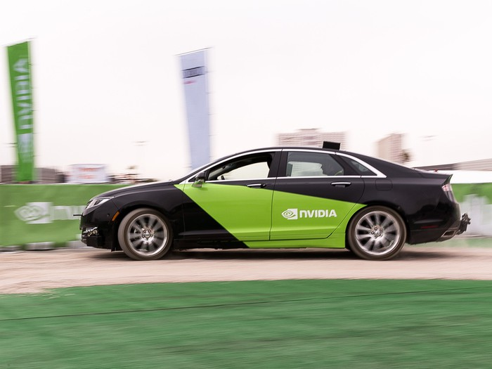 A self-driving car powered by NVIDIA technology.