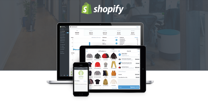 Shopify app on a laptop, tablet, and a mobile phone.