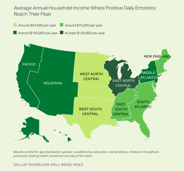 A map showing the plateau in satisfaction from income by region.