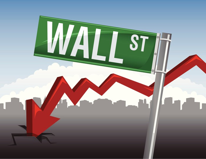 Wall Street Sign with an arrow pointing downward.