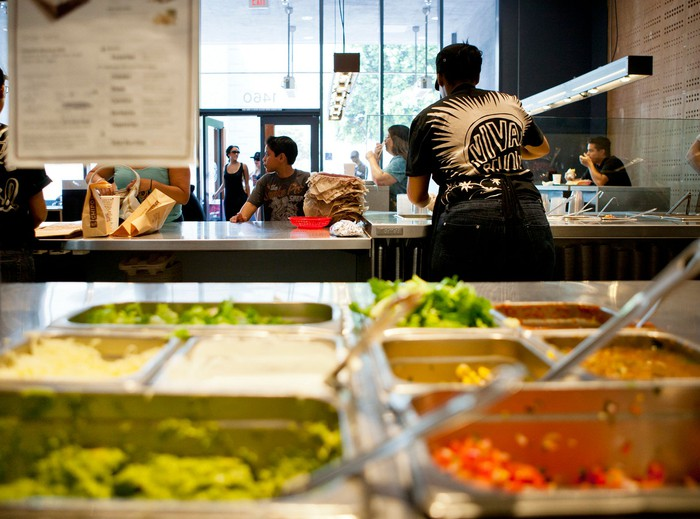 Serving trays inside a Chipotle Mexican Grill restaurant.