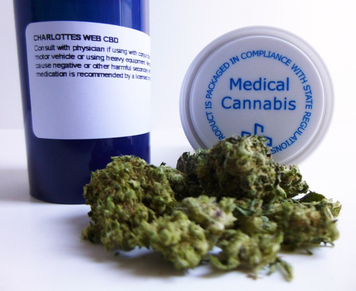 "Marijuana buds lie in front of a blue prescription bottle and a bottle cap that reads ""medical cannabis."""