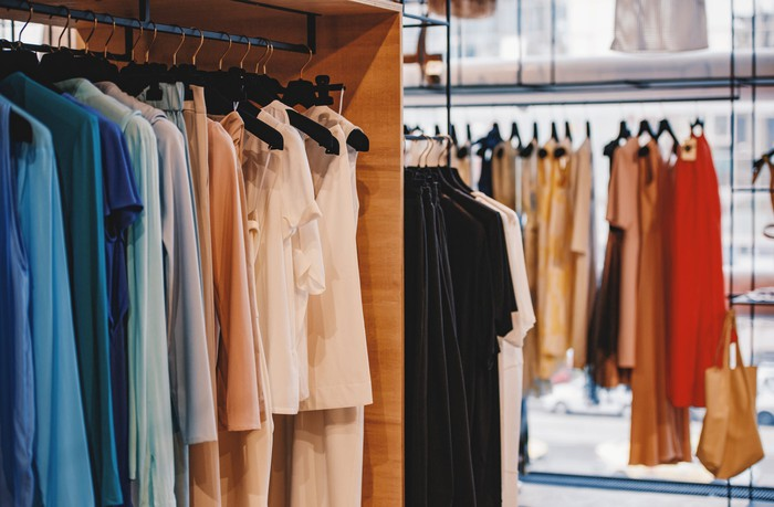Racks of women's clothing on display in a store