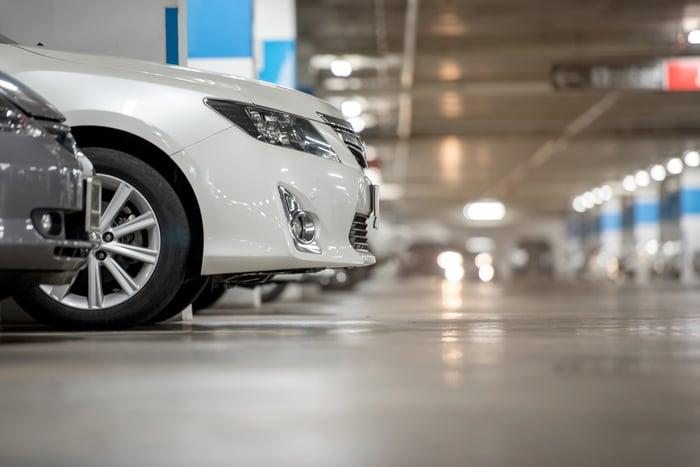Cars parked in an underground garage