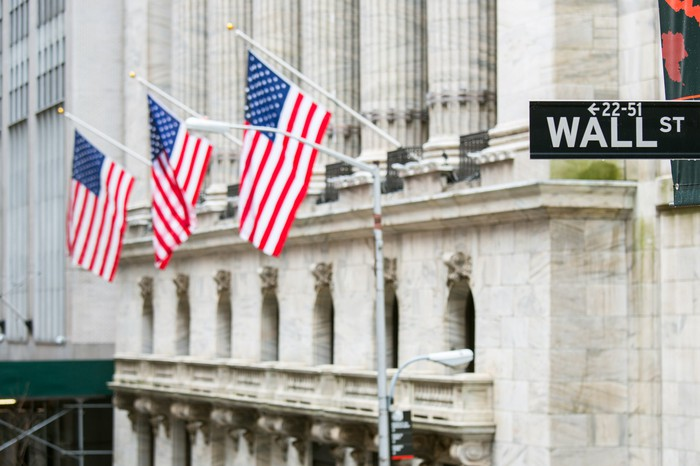 Wall Street with flags and street sign