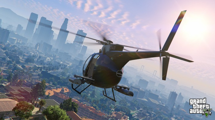 "A helicopter in ""Grand Theft Auto V."""