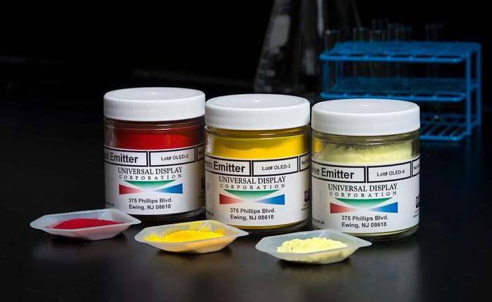 Bottles of OLED emitter materials.