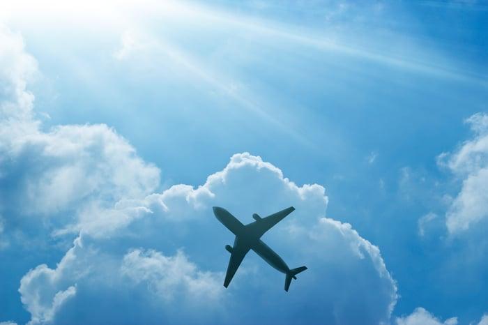 Airplane against blue sky