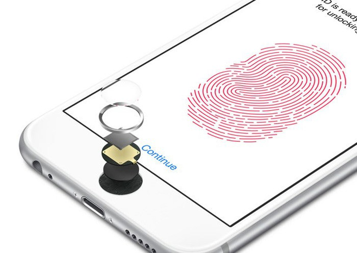 An Apple iPhone with the Touch ID sensor broken down into its constituent parts.