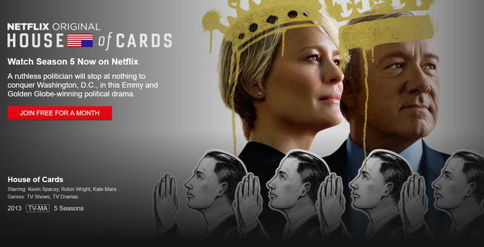 Netflix House of Cards cover shot.