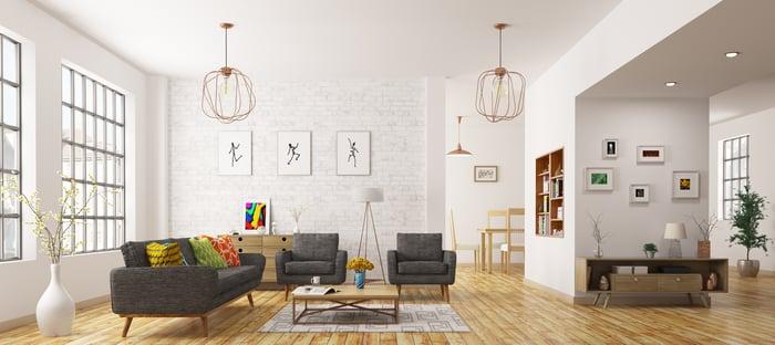 Luxury furniture in modern apartment