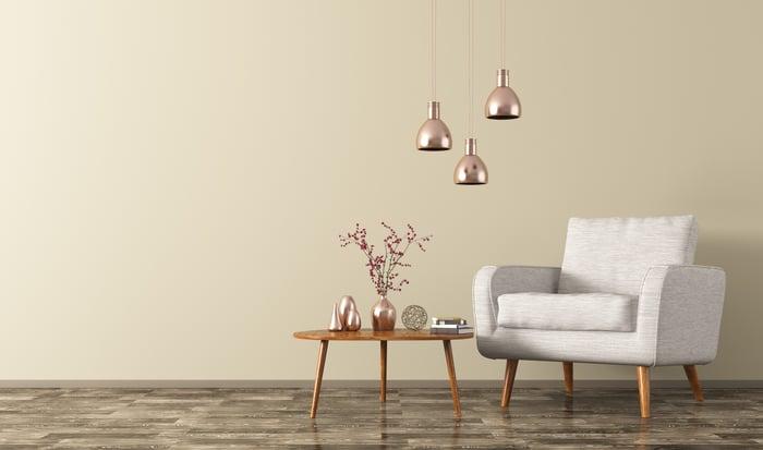 A contemporary furniture set.