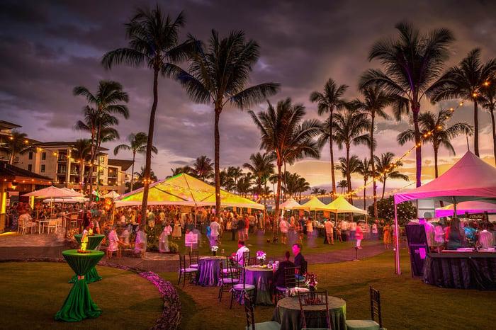 A huge party at Kapalua Resort, Maui.