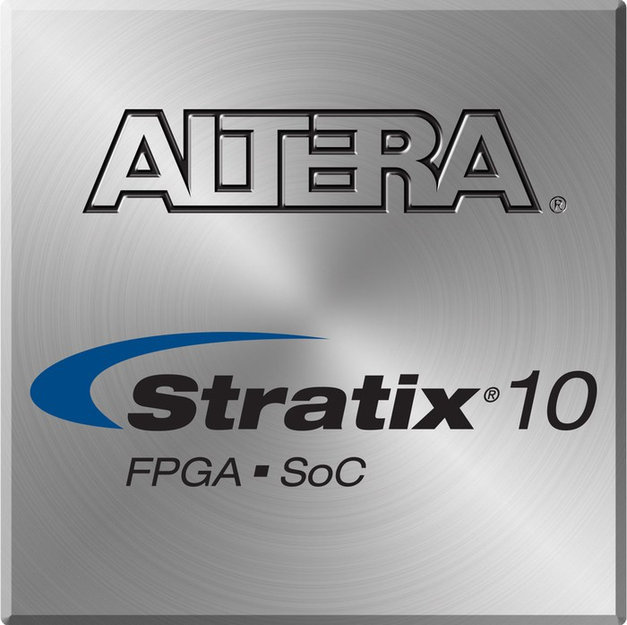 Intel's Altera Stratix 10 FPGA processor.
