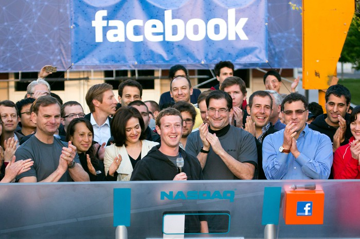 Facebook CEO Mark Zuckerberg ringing Nasdaq's opening bell.
