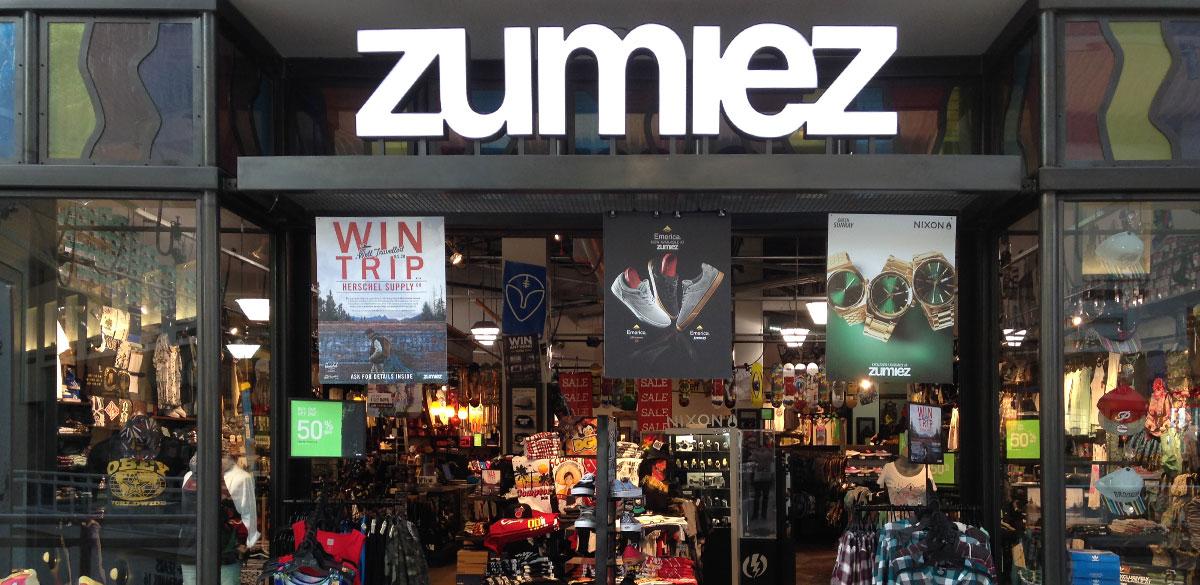 A Zumiez store front.