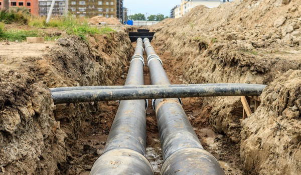 Getty Gas Pipe in Trench