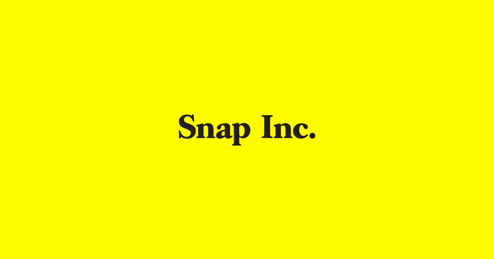 """""""Snap Inc."""" in black on a yellow background"""
