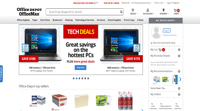 A screen shot from the Office Depot website.